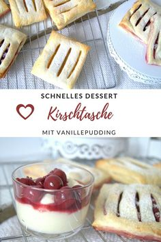 Kirschtasche mit Vanillepudding trifft auf Apfeltasche / einfaches und schnelles Rezept With to the So easy and quick with pastry baked. Just lay out the puff pastry, Quick Recipes, Quick Easy Meals, Pudding Desserts, Dessert Recipes, Dessert Oreo, Homemade Sauerkraut, Yummy Snacks, Healthy Snacks, Baking Ingredients