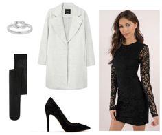 selena gomez hands to myself inspo: silver infinity ring, black stockings, light grey long coat, black heels, long lace dress