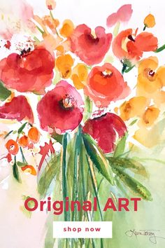 Shop original watercolor paintings online. Colorful floral and coastal landscapes for your home. Watercolor Projects, Watercolor Design, Watercolor Techniques, Watercolor Paintings, Paintings Online, Online Painting, Beach Cottage Style, Beautiful Houses Interior, Original Art