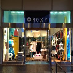 Roxy Surf Shop uses good use of vertical and horizontal lines making the store window really stand out and look sharp. The use of different shades of blues and yellows makes you feel warm and want it to be summer/go on a vacation