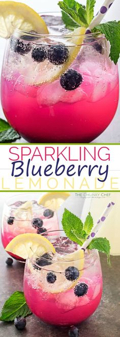 Sparkling Blueberry Lemonade   Cool down this summer with the ultimate blueberry lemonade! Homemade blueberry syrup mixed with refreshing lemonade, topped off with some bubbly club soda!   http://thechunkychef.com