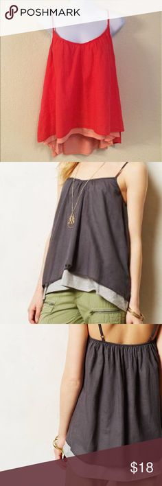 """Anthropologie Stark X Willow Layered Cami Tank Top Anthropologie Stark X Willow Layered Cami Tank Top, Size Small                                       When it comes to basics, we can't get enough of easy, thoughtful pieces that go beyond the call of casual duty, such as this swingy, pre-layered cami.  By Stark X Adjustable straps Cotton, polyester, rayon, spandex Machine wash Regular: 23""""L Anthropologie Tops Tank Tops"""