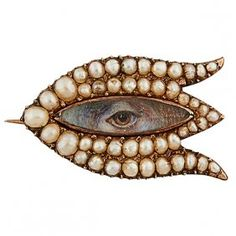 Lover's Eye 19th Century gold and Pearl brooch.
