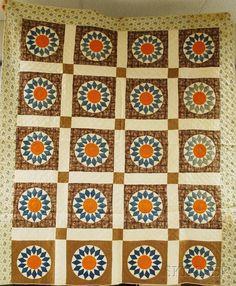 "Hand-stitched Pieced Cotton ""Sunburst"" Quilt, (so : Lot 1173"
