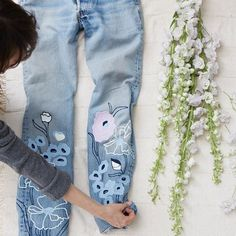 Our talented pal @amylipnis doing her magic on our new Wild Flower denim ✨