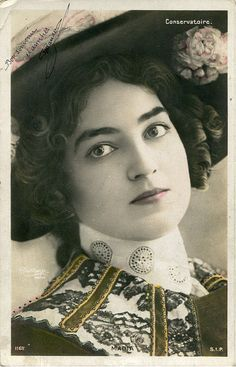 ~J    pretty...Original French vintage hand tinted real photo postcard - Actress miss Madia with hat - Victorian Paper Ephemera