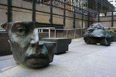 Pi by Evan Penny. Garden Sculpture, Lion Sculpture, Public Art, Urban, Statue, Cool Stuff, City, Benches, Places