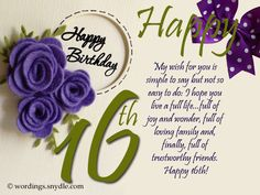 16th Birthday Wishes, Messages and Greetings   Wordings and Messages