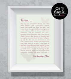 Unique Personalised Mum Poem Print / Picture. Mothers day, birthday ...