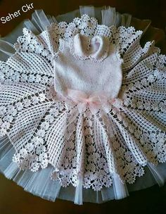 Hand crochet/crocheted dress for your special little girl. This dress also has a pearl button closure on the neckline, and Crochet Dress Girl, Baby Girl Crochet, Crochet Baby Clothes, Hand Crochet, Baby Girl Dresses, Baby Dress, Crochet Patterns Filet, Baby Christening, Baby Sweaters