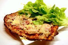 Pizza salade Sans Gluten, Salmon Burgers, Baked Potato, Quiche, Keto Recipes, Paleo, Diet, Cooking, Breakfast
