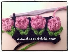 Crochet Flower Bud Headband - Pattern/Chart - Dearest Debi Patterns