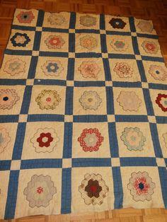 "Antique Grandmother Flower Garden Quilt Cutter or Repair Pretty   eBay smoeast123. 61"" x 74"", blocks 10-3/4"" square"