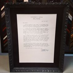 Original letter typed and signed by Stephen King! This was custom framed using acid-free suede matting, museum glass and Tapestry frame by @larsonjuhl! #art #pictureframing #customframing  #stephenking #theshining