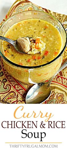 Curry Chicken and Rice Soup- an easy, comforting soup recipe that is inexpensive and family friendly! via @FrugalMomL