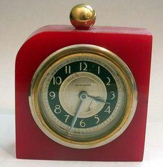 New Haven Art Deco Red Catalin Bakelite Clock with Domino design