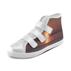 Shockwave Sunset Velcro High Top Canvas Kid's Shoes (Model 015)
