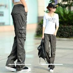 Womens Military Army Fashion Green Cargo Pocket Pants Leisure Trousers Outdoor   Clothing, Shoes & Accessories, Women's Clothing, Pants   eBay!