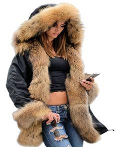 6ad058eb75 Roiii Winter Women Parka Jacket Coat Black Shade Faux Fur Hooded Outwear  Over Coat UK PLUS