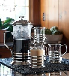 Glass and Stainless Steel Coffee Press And 4 Cappuccino Cups Gift Set in Holiday 2012 from Wind & Weather on shop.CatalogSpree.com, my personal digital mall.