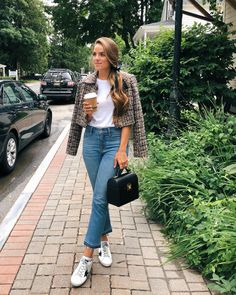 Easy, Casual way to styleTweed Separates - Gal Meets Glam (Tweed Tinsley jacket, white tee, high waisted jeans and Golden goose sneakers) Fashion 101, Denim Fashion, Fashion Outfits, Womens Fashion, Fashion Trends, Fashion Ideas, Ladies Fashion, Fashion Bloggers, Look Blazer