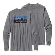 Patagonia P 6 Logo Longsleeve Tee: Patagonia's iconic logo on their American grown organic cotton tee. Ringspun, long-staple organic cotton for softness and durability. Screen-print inks are PVC- and phthalate-free. Taped shoulder seams for comfort and fit retention U.S.-grown organic cotton is sourced from member farms of the Texas Organic Cotton Marketing Cooperative. Patagonia original art 5.4-oz 100% organic cotton. Fabric is bluesign™ approved 198 g (7 oz). Made in Mexico.