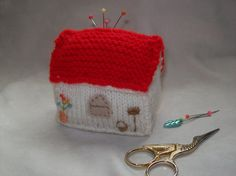 Knitted mini cottage pin cushion by KnittedGemsandCrafts on Etsy, $9.00
