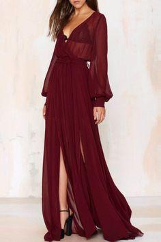 See-Through Slit V Neck Long Sleeve Maxi Dress WINE RED: Maxi Dresses | ZAFUL