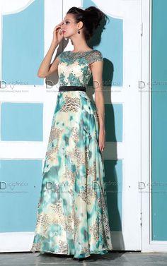 Vestido longo em chifon estampado com manga japonesa 30760 - Clique na imagem…
