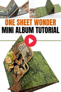 One sheet wonder interactive easy mini album tutorial Mini Scrapbook Albums, Mini Albums, Scrapbook Pages, Scrapbook Layouts, Fancy Fold Cards, Folded Cards, 3d Cards, Brag Book, One Sheet Wonder