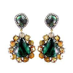 24.47ct Emerald Dangle Earrings Diamond 14k Gold 925 Sterling Silver Jewelry #Handmade #Dangle
