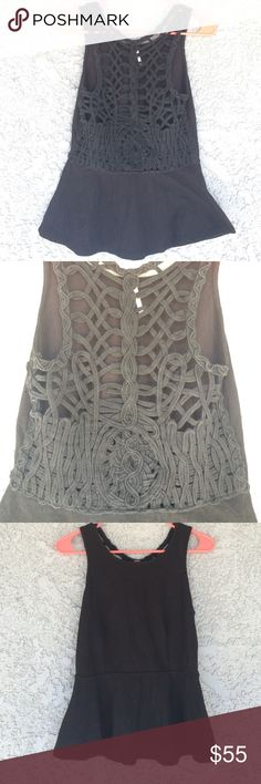 """Free people """"affairs in Versailles"""" peplum top Black free people peplum top with crazy unique weaved back. Size small! This top is so flattering. Only worn a few times Free People Tops"""