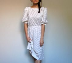 Sheer White Dress See Through Casual Striped Dress Plaid Pattern Silver Spring Fashion Puff Sleeve - Small. S. $42.00, via Etsy.