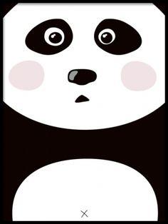 Söt poster till barnrum, panda. Barntavlor med djur.