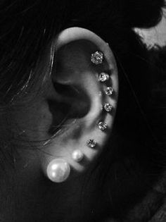 Diamond earrings, pearl earrings, Piercings, ear piercings
