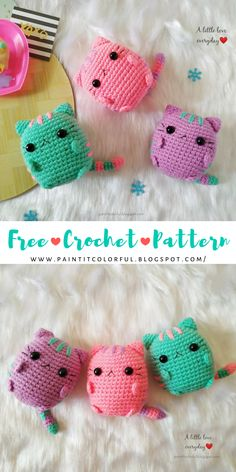 Pastel Pusheen Amigurumi pattern, Free Crochet Cat Pattern - Do you like cats? I'm not much of a cat person but they hands down take the lead when it comes to - Kawaii Crochet, Cute Crochet, Crochet Crafts, Crochet Projects, Crochet Baby, Crochet Amigurumi Free Patterns, Crochet Animal Patterns, Crochet Dolls, Easy Crochet Animals