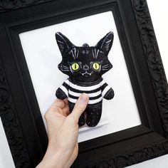 Illustrated black cat doll printed on soft minky fabric - Trouble Cat Alex in a Sweater by blacklilypie on Etsy