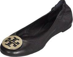 697e84e136f Tory Burch Black Leather Logo Flats 7.5  159 One Savvy Design Consignment  Boutique 74 Church Street