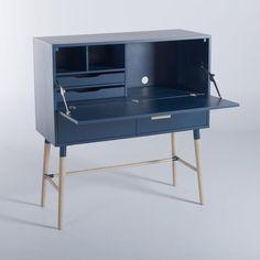 Bureau Enzo AM.PM : prix, avis & notation, livraison. Une ligne simple et une couleur bleue qui donne envie de l'exposer ! Ce bureau peut s'adapter à différentes pièces dans la maison. - Structure MDF revêtue d'un placage chêne teinté bleu pétrole. - Caractéristiques : 1 porte à abattant (2 tiroirs intérieurs + 1 compartiment vide avec passe-câble) + 2 tiroirs bas. - Pieds et poignées chêne clair. - Dimensions :Dim. abattant L.102 x P.37,7 x H.18 cm. Dim. tiroirs intérieurs L.47,5 x Dim… Interior And Exterior, Interior Design, Office Accessories, Nightstand, Sweet Home, Desk, Cabinet, Bedroom, Architecture