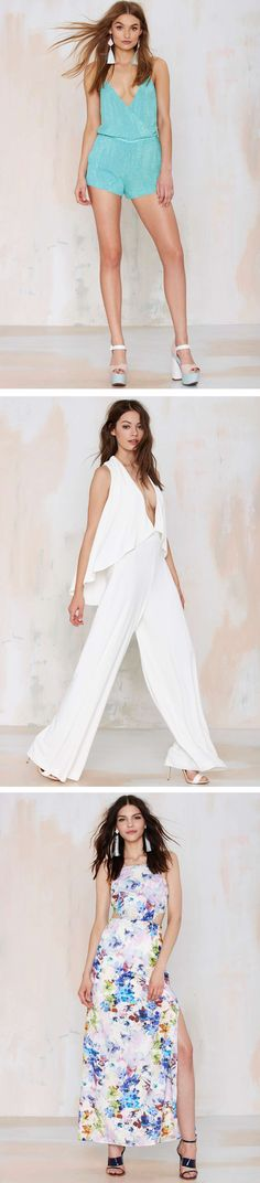 You'll have 'em looking more than just twice in the newest crop of sleek, modern rompers, chic jumpsuits and high slit maxis. Get the looks: http://www.nastygal.com/spring-special-occasions-clothes?utm_source=pinterest&utm_medium=smm&utm_term=stylechat_style
