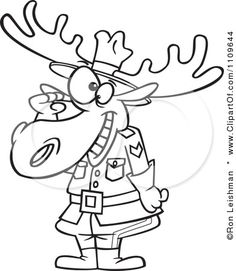 moose tattoo designs clipart outlined mountie moose saluting royalty free vector