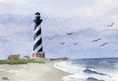 """Cape Hatteras Lighthouse - This is a professional open edition Giclee' print by artist David J. Rogers.    Etsy $9.50      Printed from an original watercolor painting, and hand signed on the front by the artist. The detail and color are outstanding. The print measures 5"""" X 7""""."""