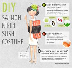 Learn how to transform yourself into a giant piece of salmon with this easy to make DIY salmon nigiri sushi costume! Halloween Mono, Holidays Halloween, Fall Halloween, Halloween Decorations, Halloween Party, Halloween Design, Halloween 2018, Christmas Decorations, Costume Sushi
