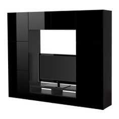 "BESTÅ TV storage combination, high gloss black, black-brown Width: 94 1/2 "" Depth: 15 3/4 "" Height: 75 5/8 "" Width: 240 cm Depth: 40 cm Height: 192 cm"