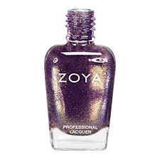Zoya Nail Polish | Daul - Zoya nail polish in Daul can be best described as: A medium red-toned purple base with heavy purple and gold iridescent metallic sparkle. The shiny gold sparkle makes this shimmering purple polish extra bright and lively  Color Family Purple, Gold  Color Finish Metallic Micro Glitter  Color Intensity 5 ( 1=Sheer - 5=Opaque )  Color Tone Cool  https://www.artofbeauty.com