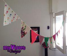 Guirnaldas de banderines con hilo rustico, muchos colores :D myvioletdesigns.com