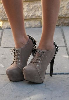 Nude suede look ankle boots with studs on the back #studded #suede #boots www.loveitsomuch.com