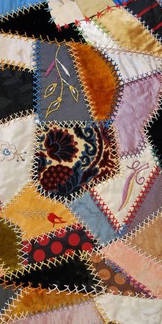 c. 1880 Antique Crazy Quilt with Two Crazy Shams in Lavish Jewel Tone Silks, Velvet, & Embroidery