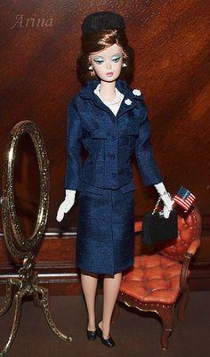 Jacqueline Kennedy - Chez Ninon navy suit.