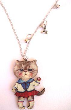 my navy cat  wooden pendant  laser cut pendant by mayasfairytale, $24.50